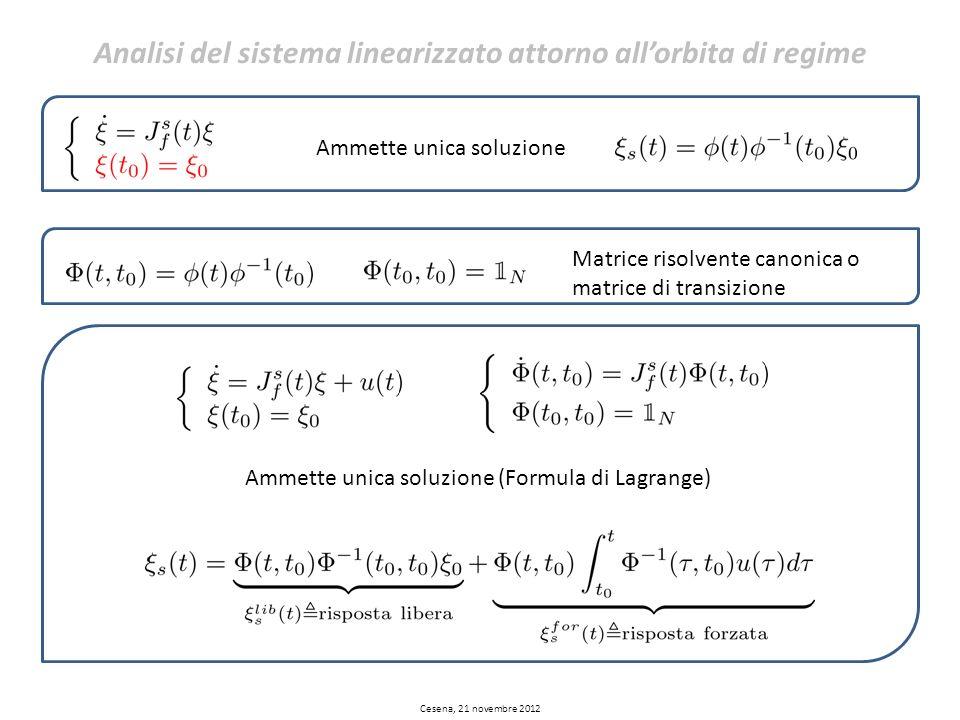 Ammette unica soluzione Ammette unica soluzione (Formula di Lagrange) Matrice risolvente canonica o matrice di transizione Analisi del sistema lineari