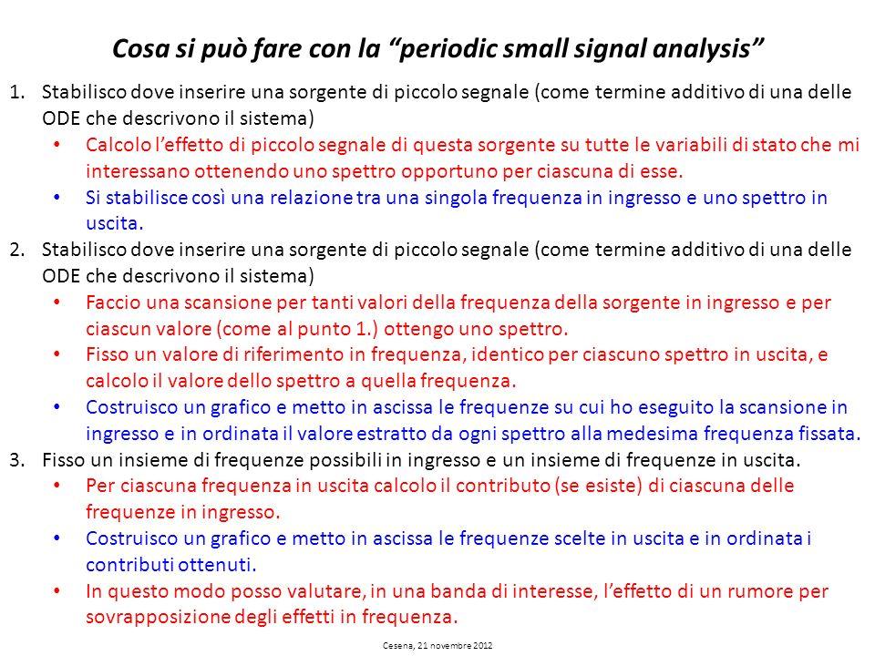Cesena, 21 novembre 2012 Cosa si può fare con la periodic small signal analysis 1.Stabilisco dove inserire una sorgente di piccolo segnale (come termi