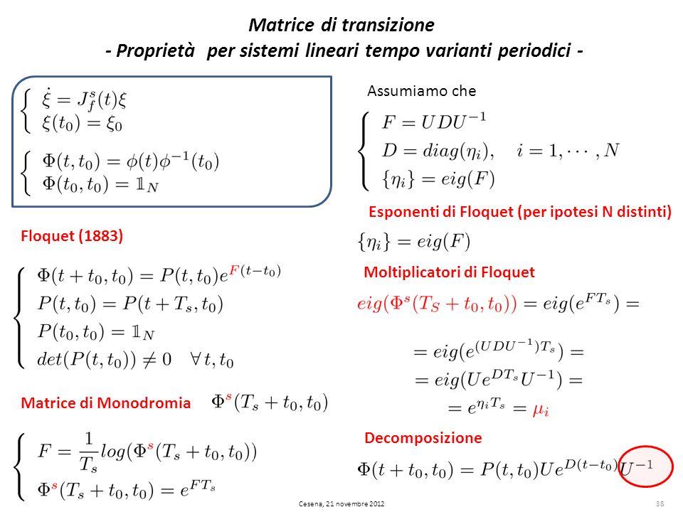 38 Matrice di transizione - Proprietà per sistemi lineari tempo varianti periodici - Cesena, 21 novembre 2012 Matrice di Monodromia Assumiamo che Espo