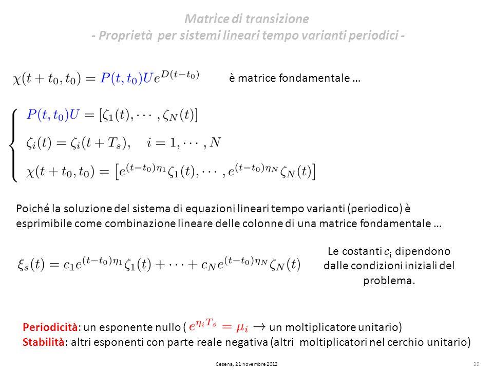 39 Matrice di transizione - Proprietà per sistemi lineari tempo varianti periodici - Cesena, 21 novembre 2012 è matrice fondamentale … Poiché la soluz