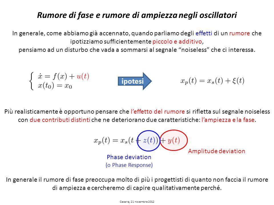 Cesena, 21 novembre 2012 Rumore di fase e rumore di ampiezza negli oscillatori In generale, come abbiamo già accennato, quando parliamo degli effetti