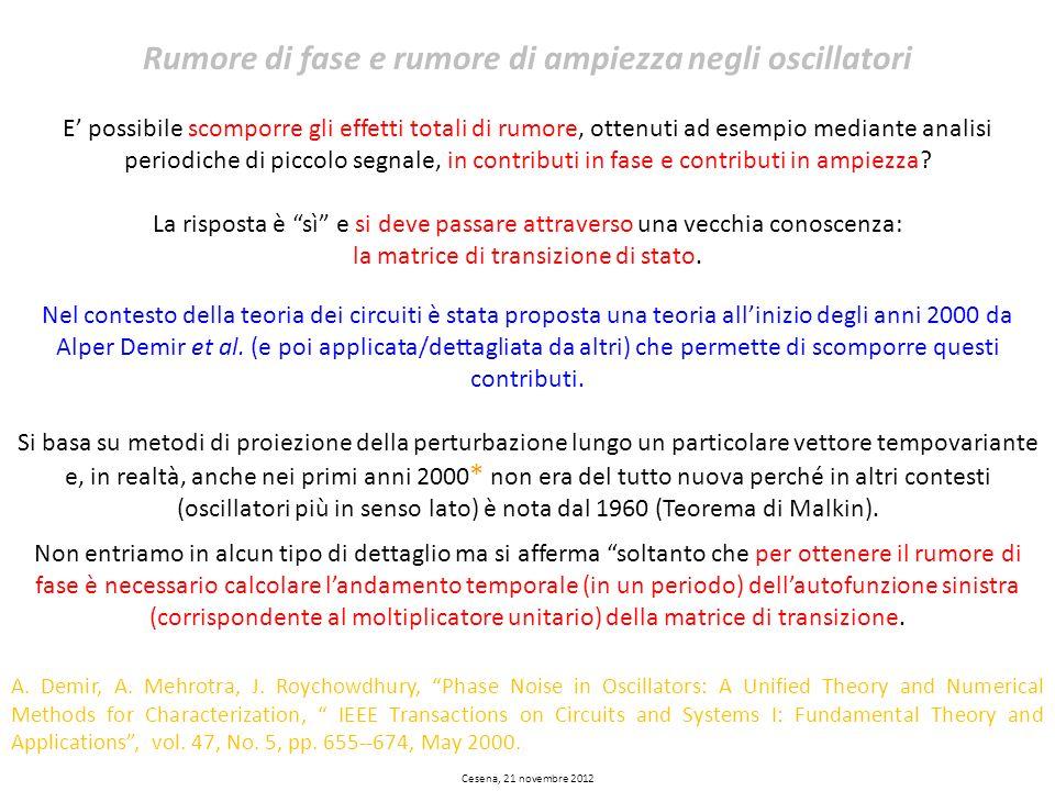 Cesena, 21 novembre 2012 Rumore di fase e rumore di ampiezza negli oscillatori E possibile scomporre gli effetti totali di rumore, ottenuti ad esempio