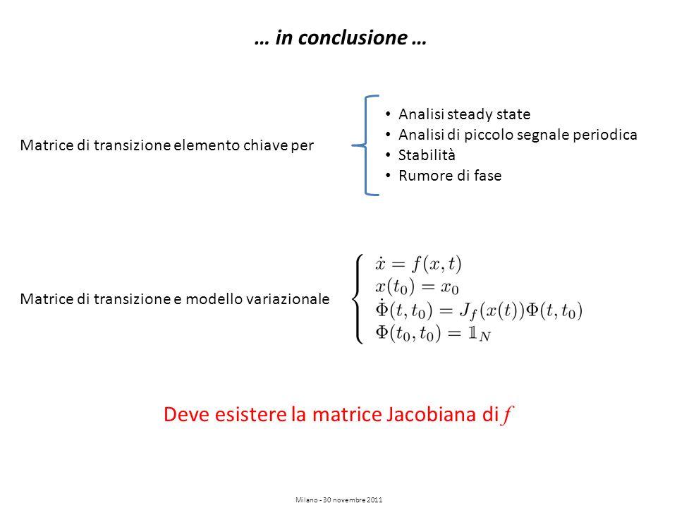 Milano - 30 novembre 2011 … in conclusione … Matrice di transizione elemento chiave per Analisi steady state Analisi di piccolo segnale periodica Stab