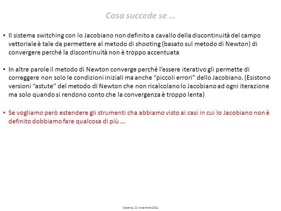 Cesena, 21 novembre 2012 Cosa succede se … Il sistema switching con lo Jacobiano non definito a cavallo della discontinuità del campo vettoriale è tal