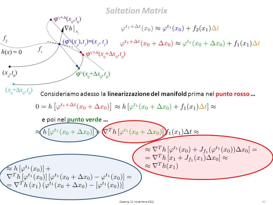 Saltation Matrix 63 Consideriamo adesso la linearizzazione del manifold prima nel punto rosso … e poi nel punto verde … Cesena, 21 novembre 2012