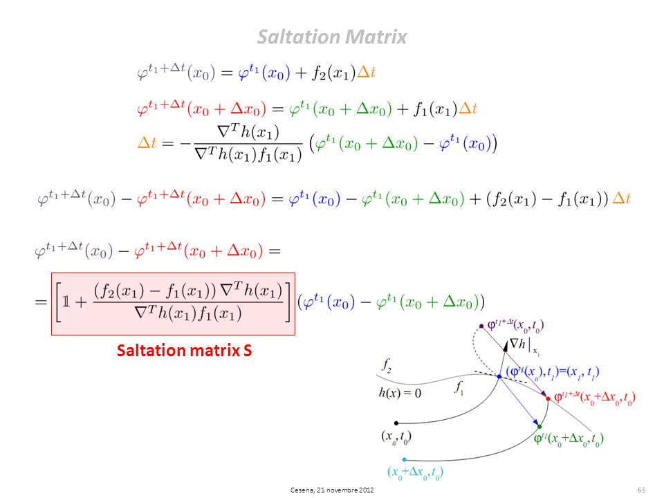 Saltation Matrix 65 Saltation matrix S Cesena, 21 novembre 2012