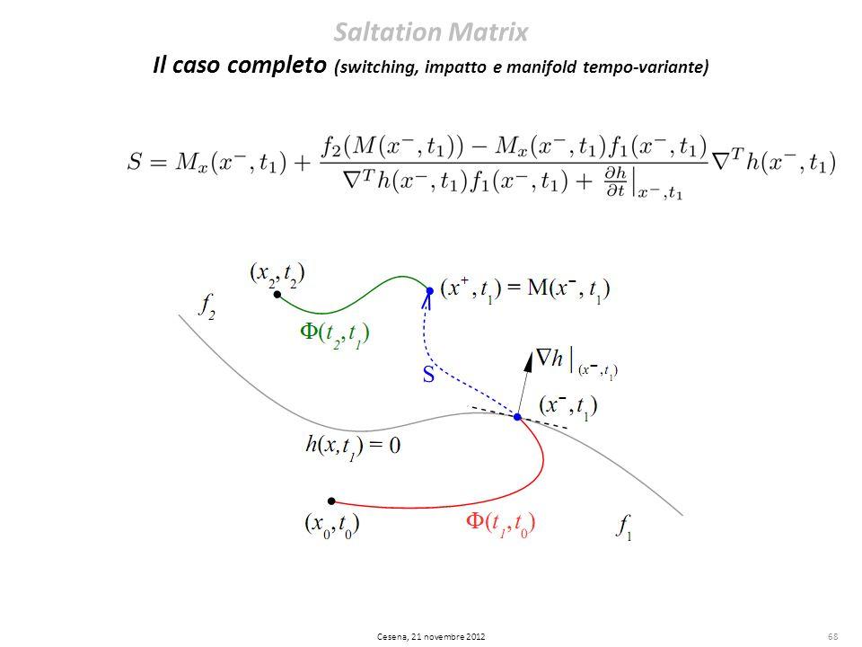 68 Saltation Matrix Il caso completo (switching, impatto e manifold tempo-variante) Cesena, 21 novembre 2012