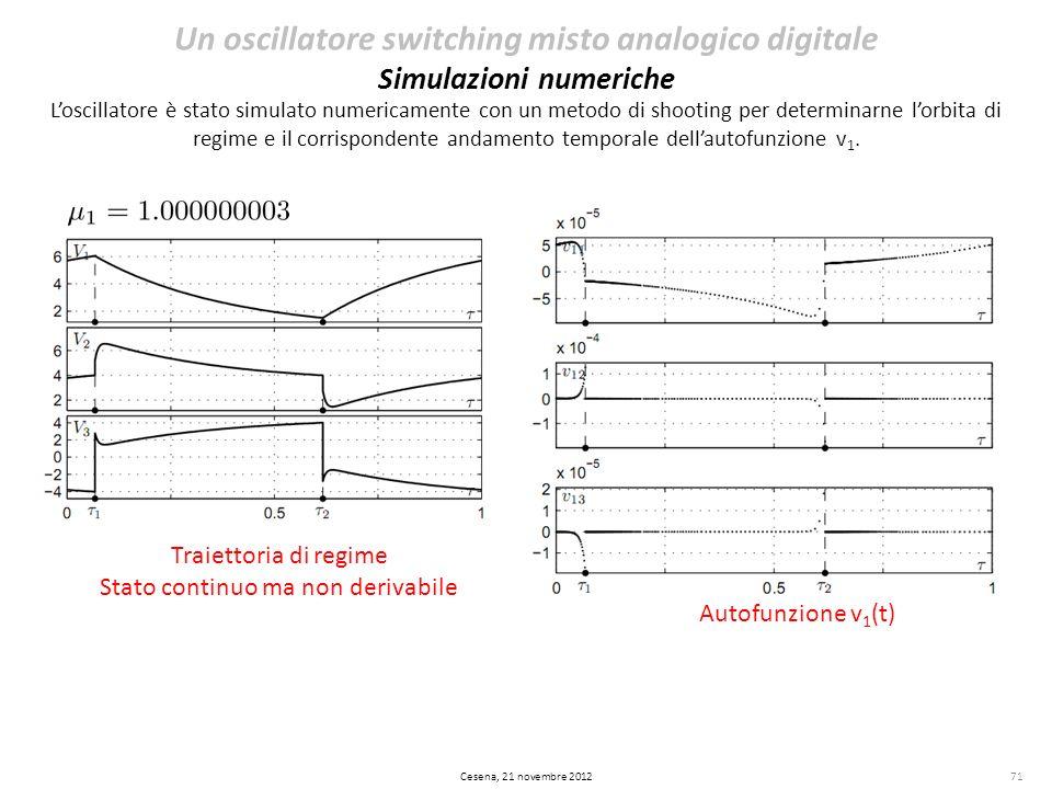 71 Un oscillatore switching misto analogico digitale Simulazioni numeriche Loscillatore è stato simulato numericamente con un metodo di shooting per d