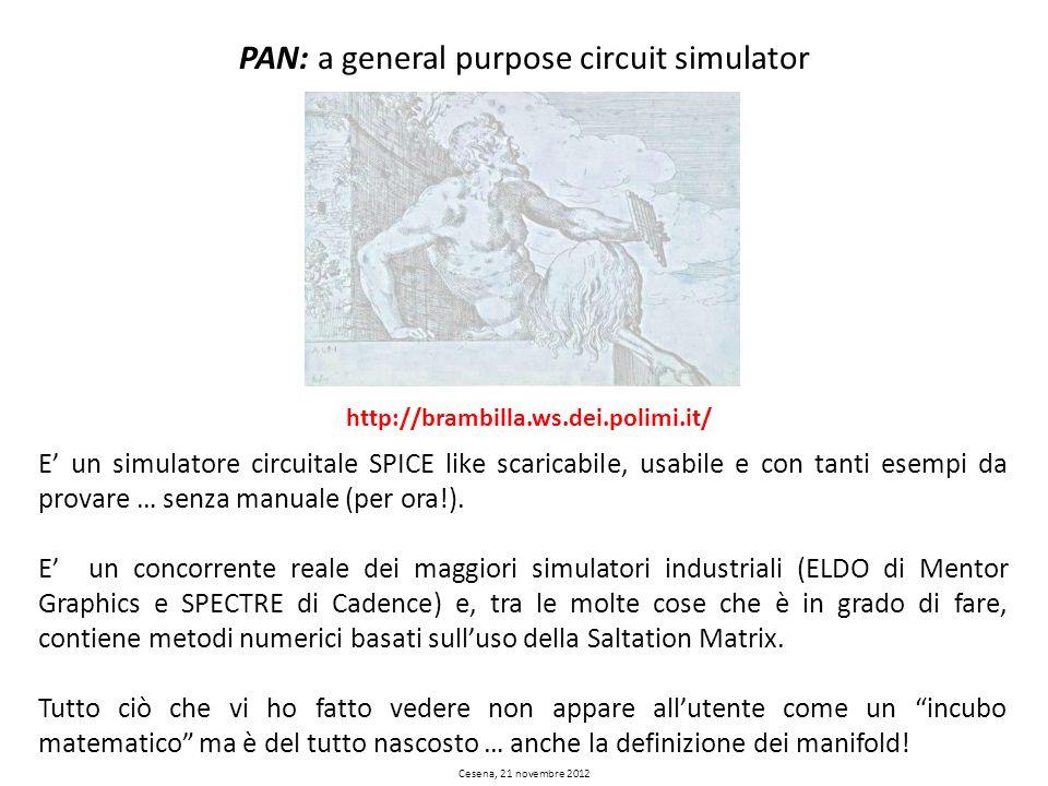 PAN: a general purpose circuit simulator Cesena, 21 novembre 2012 http://brambilla.ws.dei.polimi.it/ E un simulatore circuitale SPICE like scaricabile