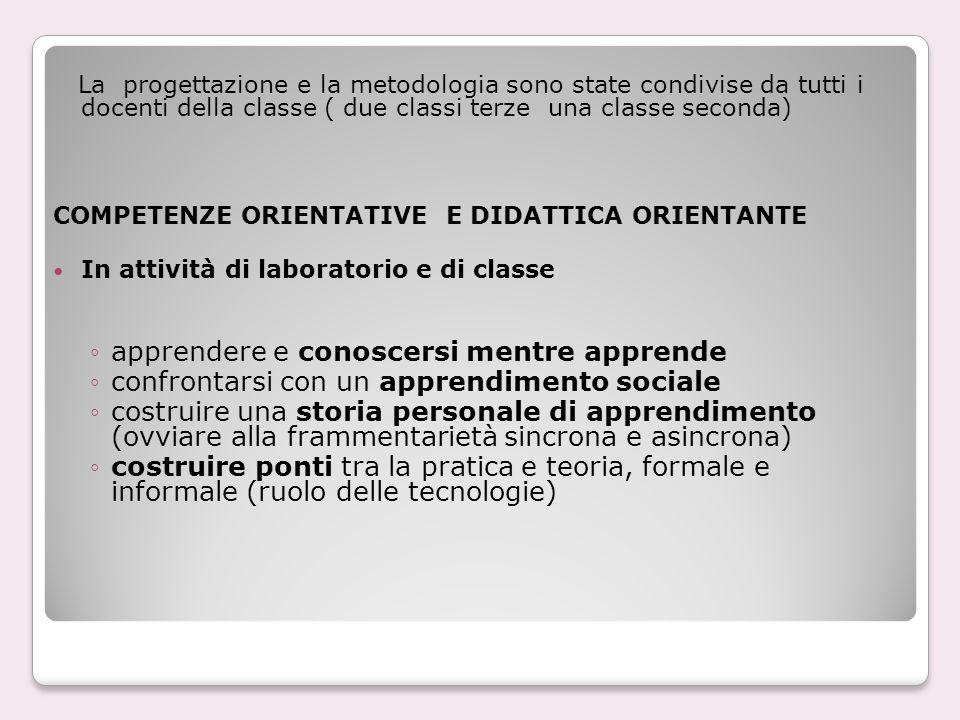 La progettazione e la metodologia sono state condivise da tutti i docenti della classe ( due classi terze una classe seconda) COMPETENZE ORIENTATIVE E