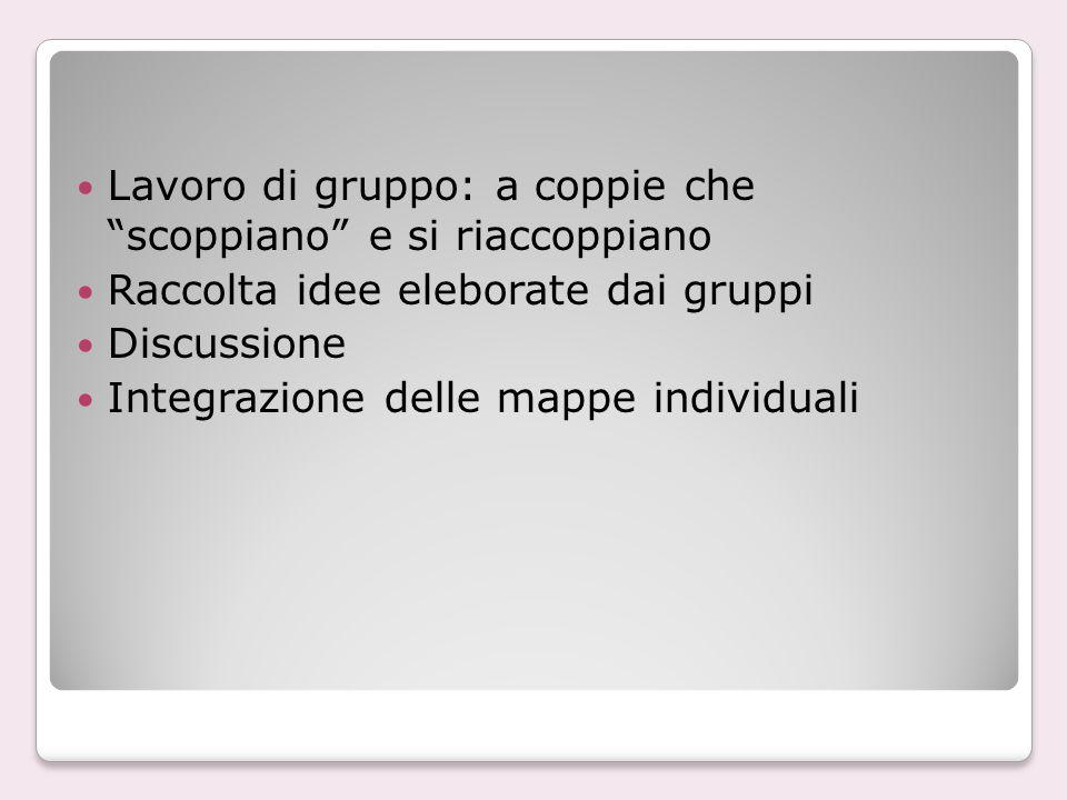 Lavoro di gruppo: a coppie che scoppiano e si riaccoppiano Raccolta idee eleborate dai gruppi Discussione Integrazione delle mappe individuali