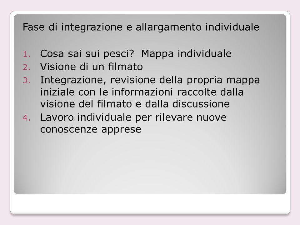 Fase di integrazione e allargamento individuale 1. Cosa sai sui pesci? Mappa individuale 2. Visione di un filmato 3. Integrazione, revisione della pro