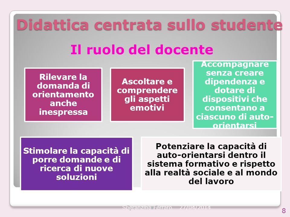 27/04/2014 Speranzina Ferraro 8 Didattica centrata sullo studente Rilevare la domanda di orientamento anche inespressa Ascoltare e comprendere gli asp