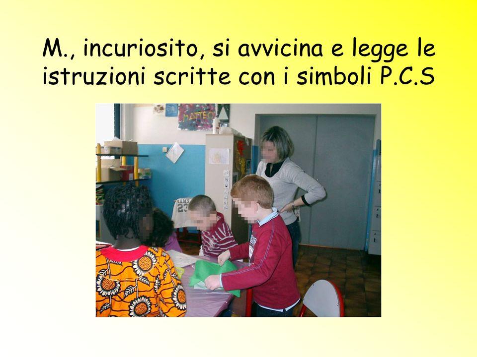 M., incuriosito, si avvicina e legge le istruzioni scritte con i simboli P.C.S