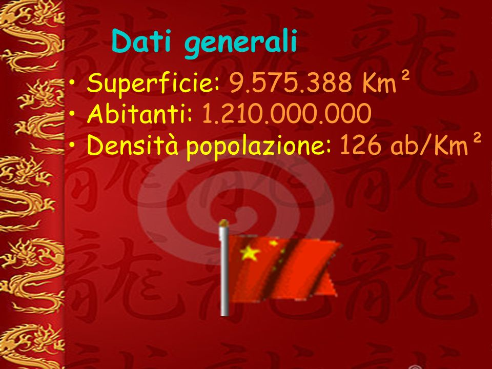 Dati generali Superficie: 9.575.388 Km² Abitanti: 1.210.000.000 Densità popolazione: 126 ab/Km²