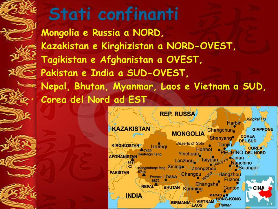 Stati confinanti Mongolia e Russia a NORD, Kazakistan e Kirghizistan a NORD-OVEST, Tagikistan e Afghanistan a OVEST, Pakistan e India a SUD-OVEST, Nep