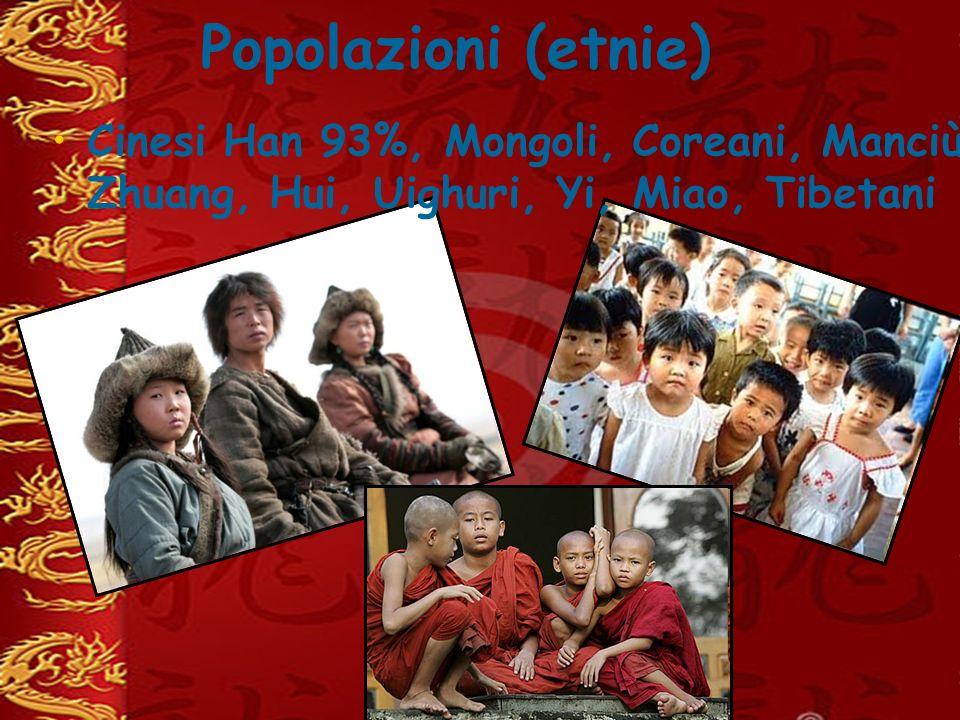 Popolazioni (etnie) Cinesi Han 93%, Mongoli, Coreani, Manciù, Zhuang, Hui, Uighuri, Yi, Miao, Tibetani