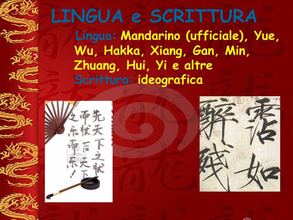 LINGUA e SCRITTURA Lingua: Mandarino (ufficiale), Yue, Wu, Hakka, Xiang, Gan, Min, Zhuang, Hui, Yi e altre Scrittura: ideografica