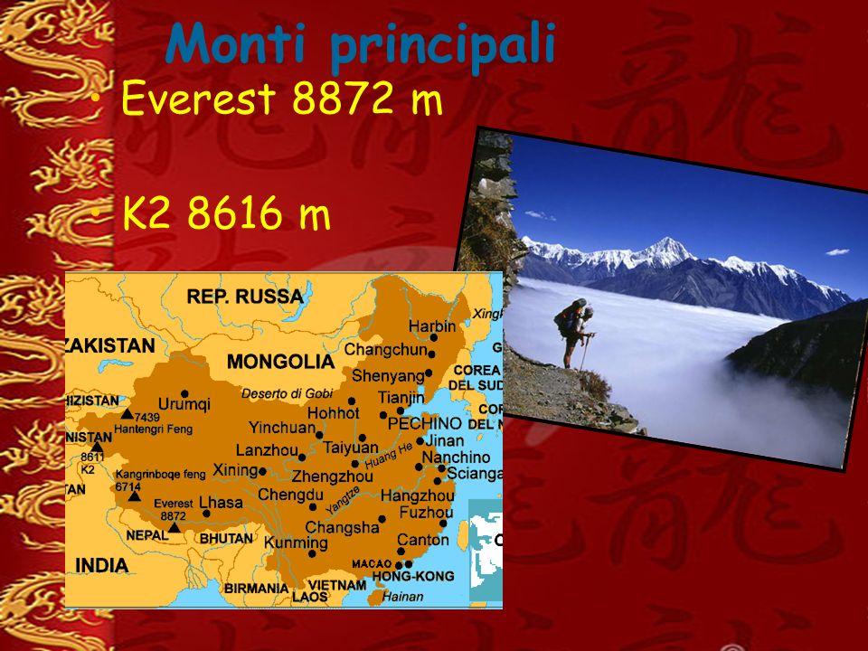 Monti principali Everest 8872 m K2 8616 m