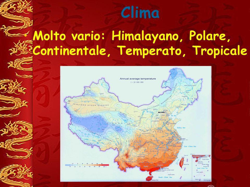 Clima Molto vario: Himalayano, Polare, Continentale, Temperato, Tropicale