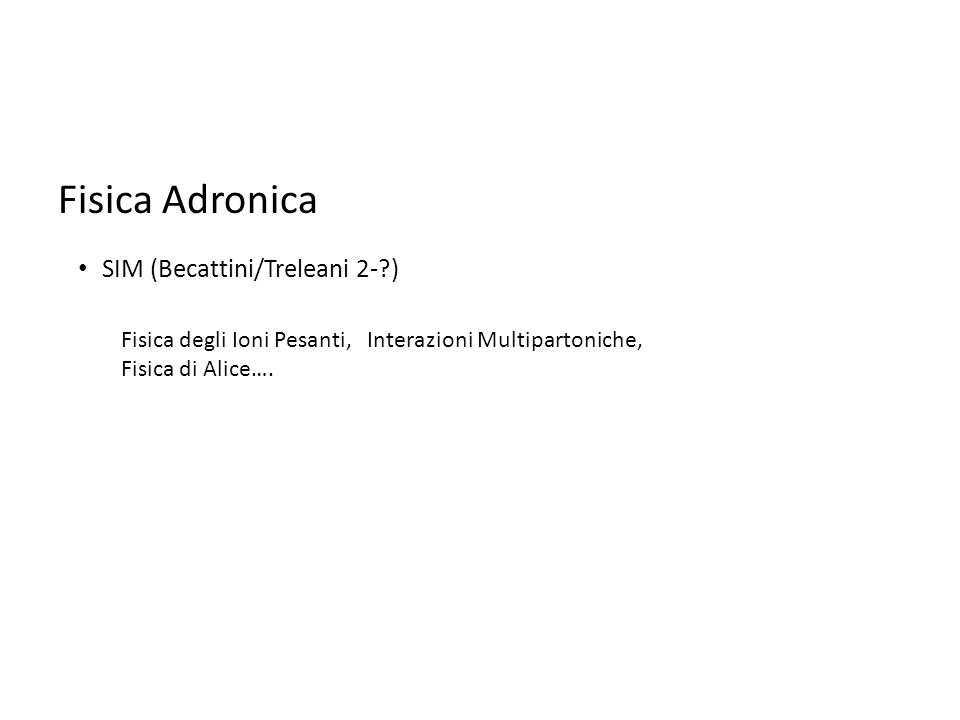 Fisica Adronica Fisica degli Ioni Pesanti, Interazioni Multipartoniche, Fisica di Alice….