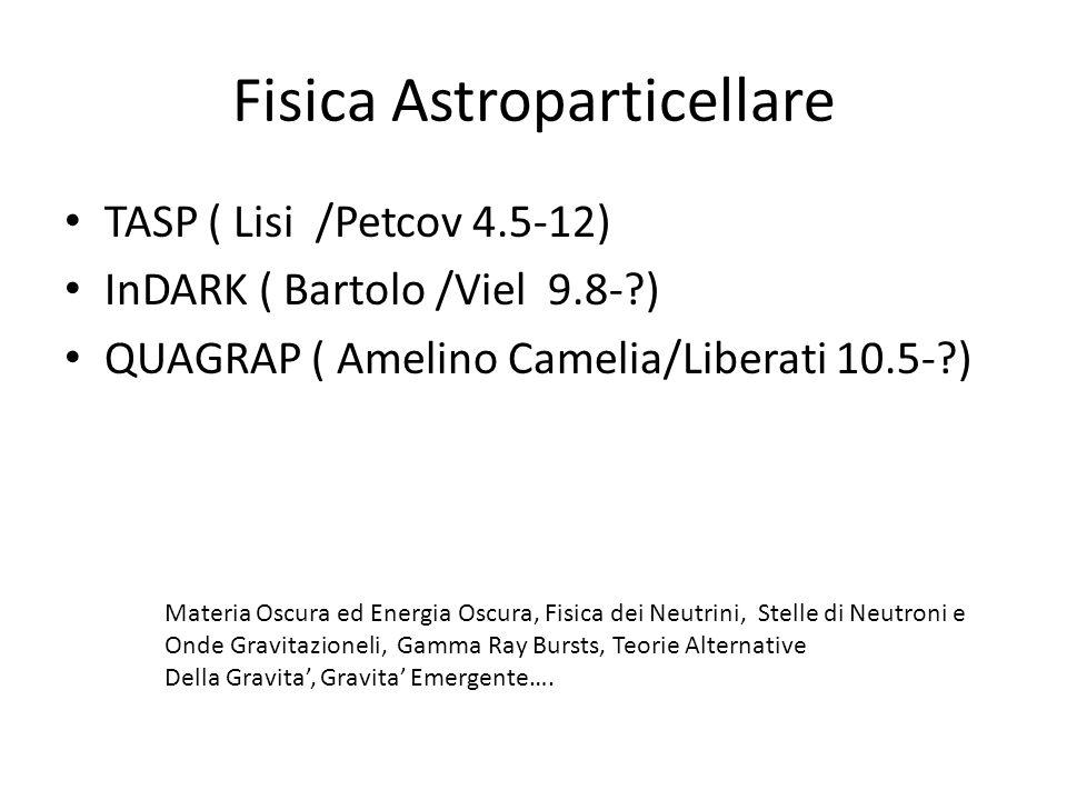 Fisica Astroparticellare TASP ( Lisi /Petcov 4.5-12) InDARK ( Bartolo /Viel 9.8- ) QUAGRAP ( Amelino Camelia/Liberati 10.5- ) Materia Oscura ed Energia Oscura, Fisica dei Neutrini, Stelle di Neutroni e Onde Gravitazioneli, Gamma Ray Bursts, Teorie Alternative Della Gravita, Gravita Emergente….