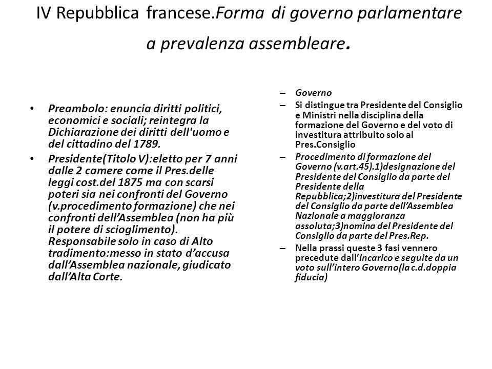 IV Repubblica francese.Forma di governo parlamentare a prevalenza assembleare. Preambolo: enuncia diritti politici, economici e sociali; reintegra la