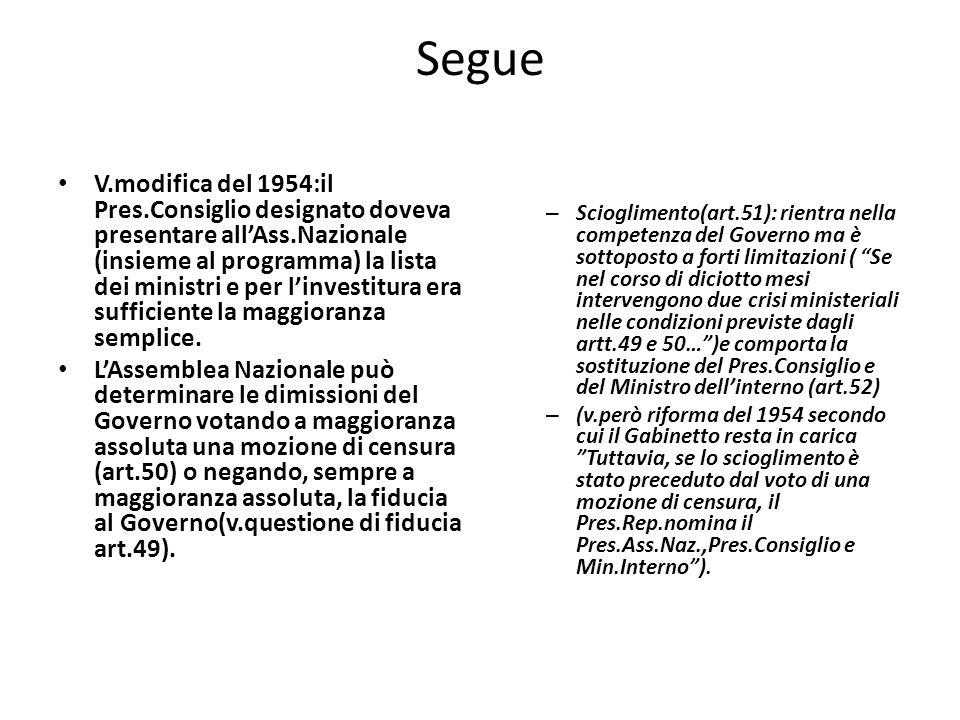 Segue V.modifica del 1954:il Pres.Consiglio designato doveva presentare allAss.Nazionale (insieme al programma) la lista dei ministri e per linvestitu