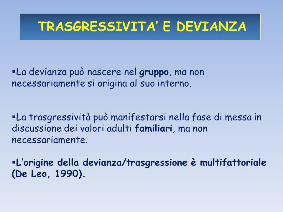 TRASGRESSIVITA E DEVIANZA La devianza può nascere nel gruppo, ma non necessariamente si origina al suo interno.
