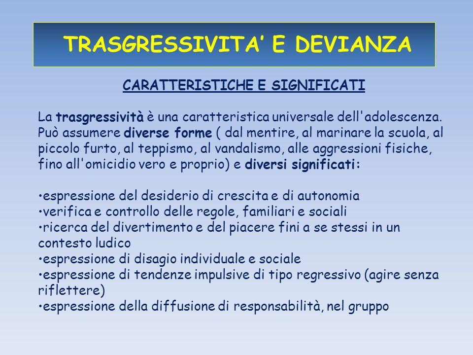 TRASGRESSIVITA E DEVIANZA CARATTERISTICHE E SIGNIFICATI La trasgressività è una caratteristica universale dell adolescenza.