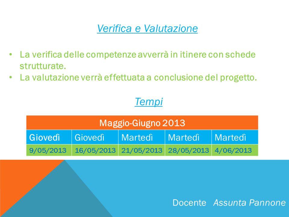 Verifica e Valutazione La verifica delle competenze avverrà in itinere con schede strutturate. La valutazione verrà effettuata a conclusione del proge