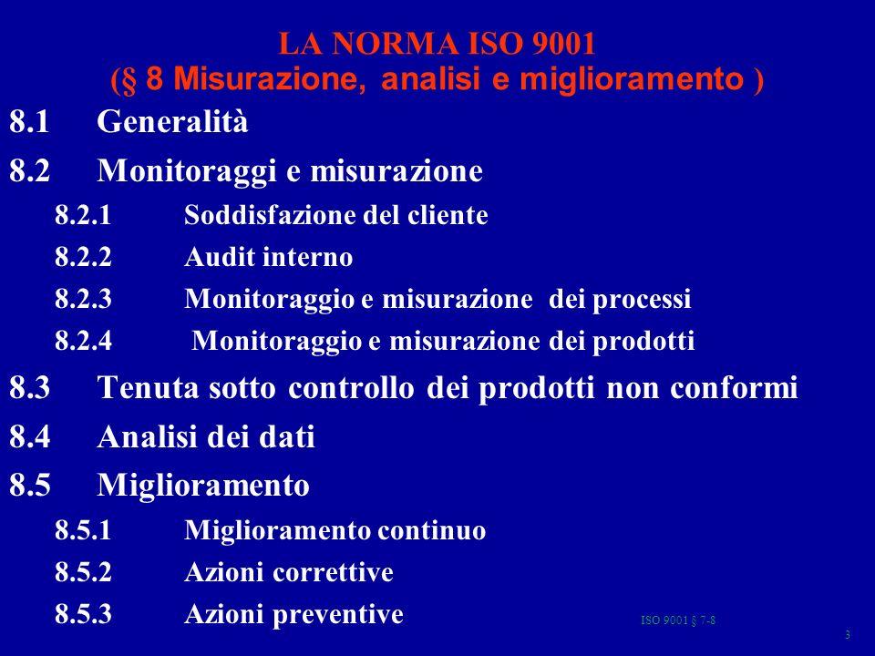 ISO 9001 § 7-8 44 8.2.4 Monitoraggio e misurazione del prodotto Lorganizzazione deve monitorare e misurare le caratteristiche del prodotto per verificare che i requisiti del prodotto siano stati soddisfatti.