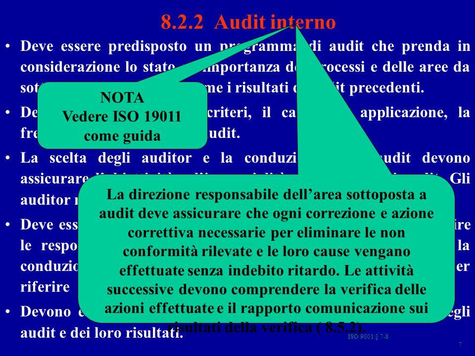 ISO 9001 § 7-8 88 LA NORMA ISO 9001 (§ 8 Misurazione, analisi e miglioramento ) 8.1 Generalità 8.2 Monitoraggi e misurazione 8.2.1 Soddisfazione del cliente 8.2.2 Audit interno 8.2.3 Monitoraggio e misurazione dei processi 8.2.4 Monitoraggio e misurazione dei prodotti 8.3 Tenuta sotto controllo dei prodotti non conformi 8.4 Analisi dei dati 8.5 Miglioramento 8.5.1 Miglioramento continuo 8.5.2 Azioni correttive 8.5.3 Azioni preventive