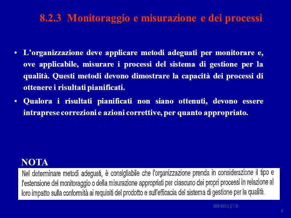 ISO 9001 § 7-8 9 8.2.4 Monitoraggio e misurazione del prodotto Lorganizzazione deve monitorare e misurare le caratteristiche del prodotto per verificare che i requisiti del prodotto siano stati soddisfatti.