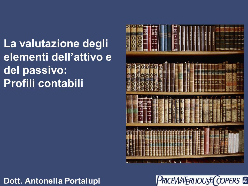 La valutazione degli elementi dellattivo e del passivo: Profili contabili Dott. Antonella Portalupi