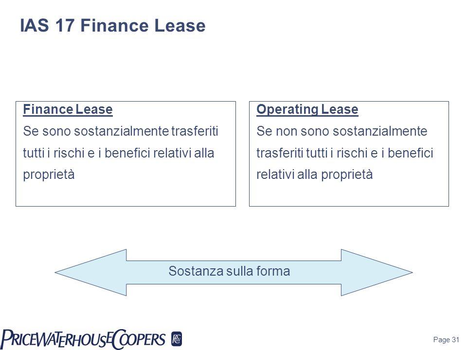 Page 31 Finance Lease Se sono sostanzialmente trasferiti tutti i rischi e i benefici relativi alla proprietà Operating Lease Se non sono sostanzialmen