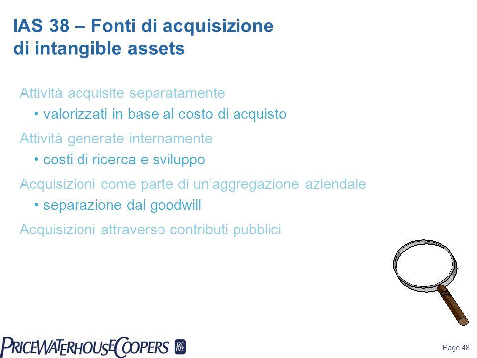 Page 48 Attività acquisite separatamente valorizzati in base al costo di acquisto Attività generate internamente costi di ricerca e sviluppo Acquisizi