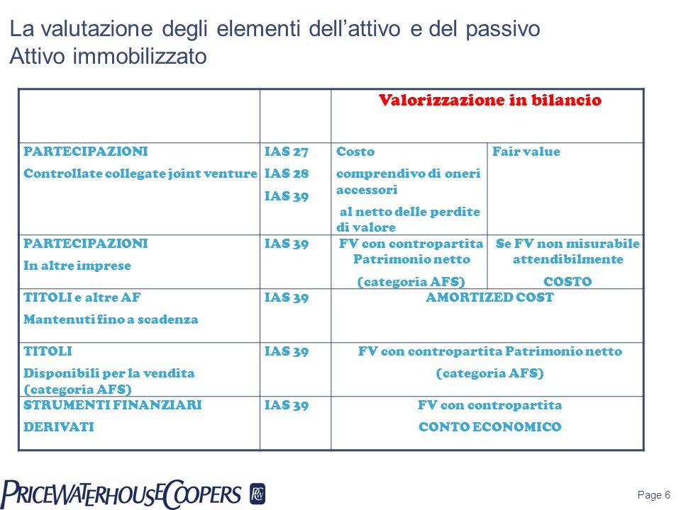 Page 6 La valutazione degli elementi dellattivo e del passivo Attivo immobilizzato Valorizzazione in bilancio PARTECIPAZIONI Controllate collegate joi