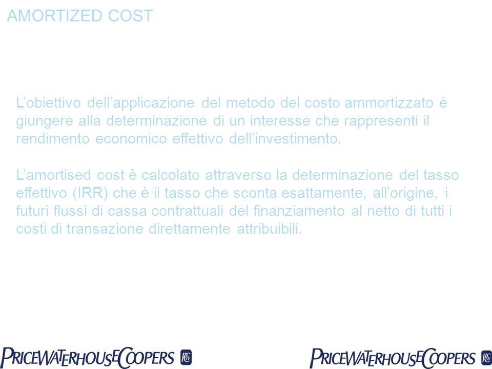 Lobiettivo dellapplicazione del metodo del costo ammortizzato è giungere alla determinazione di un interesse che rappresenti il rendimento economico e