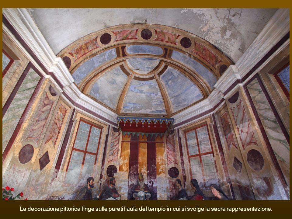 La decorazione pittorica finge sulle pareti laula del tempio in cui si svolge la sacra rappresentazione.