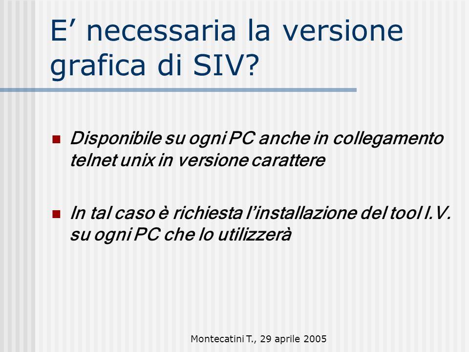 Montecatini T., 29 aprile 2005 E necessaria la versione grafica di SIV.