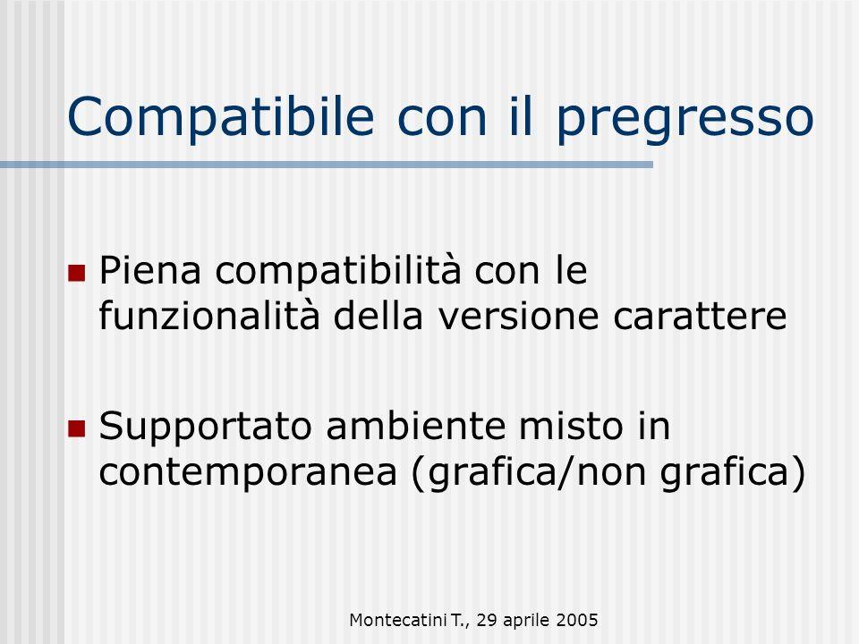 Montecatini T., 29 aprile 2005 Compatibile con il pregresso Piena compatibilità con le funzionalità della versione carattere Supportato ambiente misto in contemporanea (grafica/non grafica)