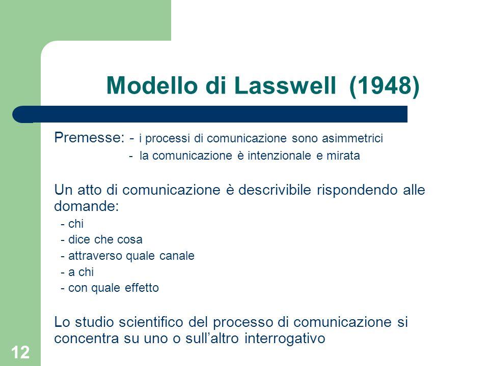 12 Modello di Lasswell (1948) Premesse: - i processi di comunicazione sono asimmetrici - la comunicazione è intenzionale e mirata Un atto di comunicazione è descrivibile rispondendo alle domande: - chi - dice che cosa - attraverso quale canale - a chi - con quale effetto Lo studio scientifico del processo di comunicazione si concentra su uno o sullaltro interrogativo