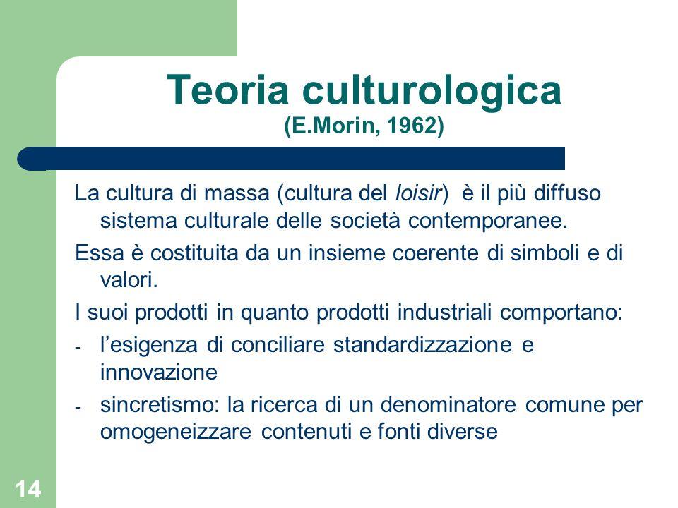 14 Teoria culturologica (E.Morin, 1962) La cultura di massa (cultura del loisir) è il più diffuso sistema culturale delle società contemporanee.
