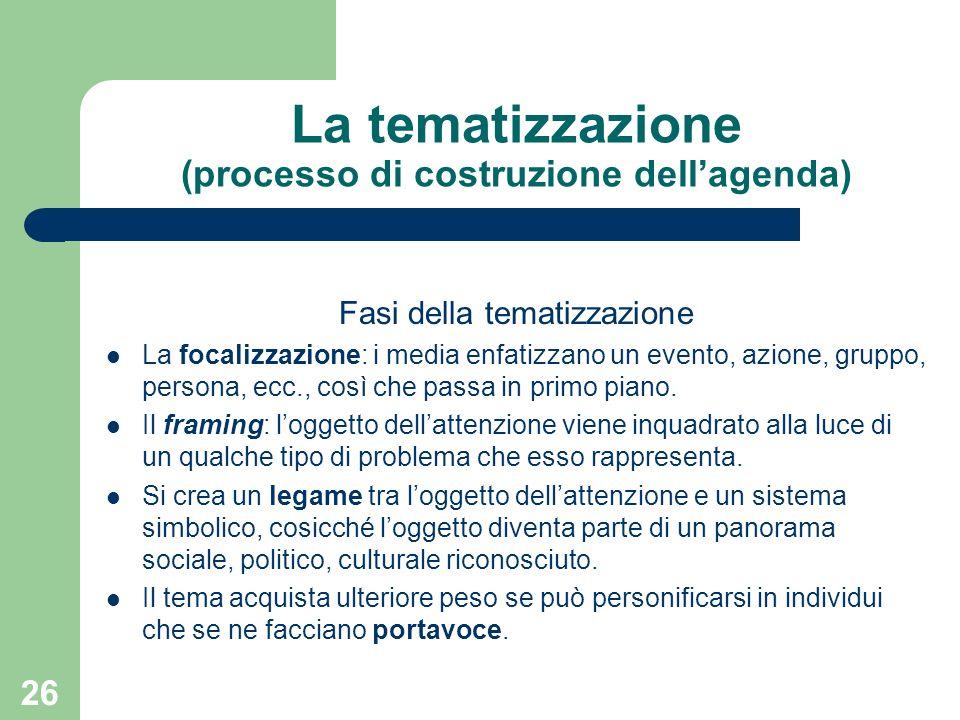 26 La tematizzazione (processo di costruzione dellagenda) Fasi della tematizzazione La focalizzazione: i media enfatizzano un evento, azione, gruppo, persona, ecc., così che passa in primo piano.