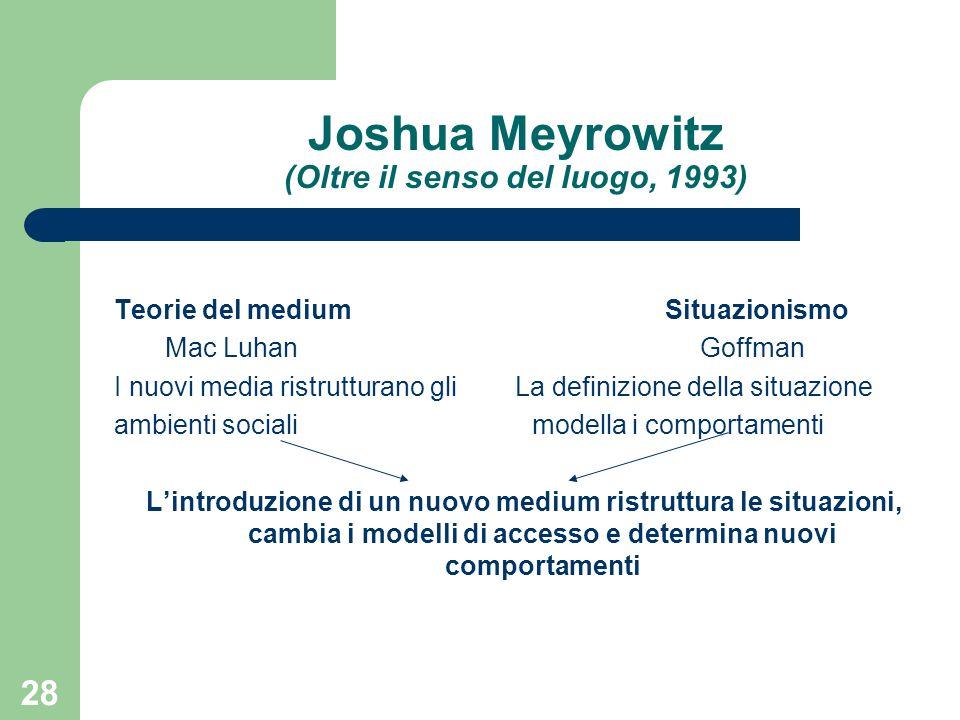 28 Joshua Meyrowitz (Oltre il senso del luogo, 1993) Teorie del medium Situazionismo Mac Luhan Goffman I nuovi media ristrutturano gli La definizione della situazione ambienti sociali modella i comportamenti Lintroduzione di un nuovo medium ristruttura le situazioni, cambia i modelli di accesso e determina nuovi comportamenti