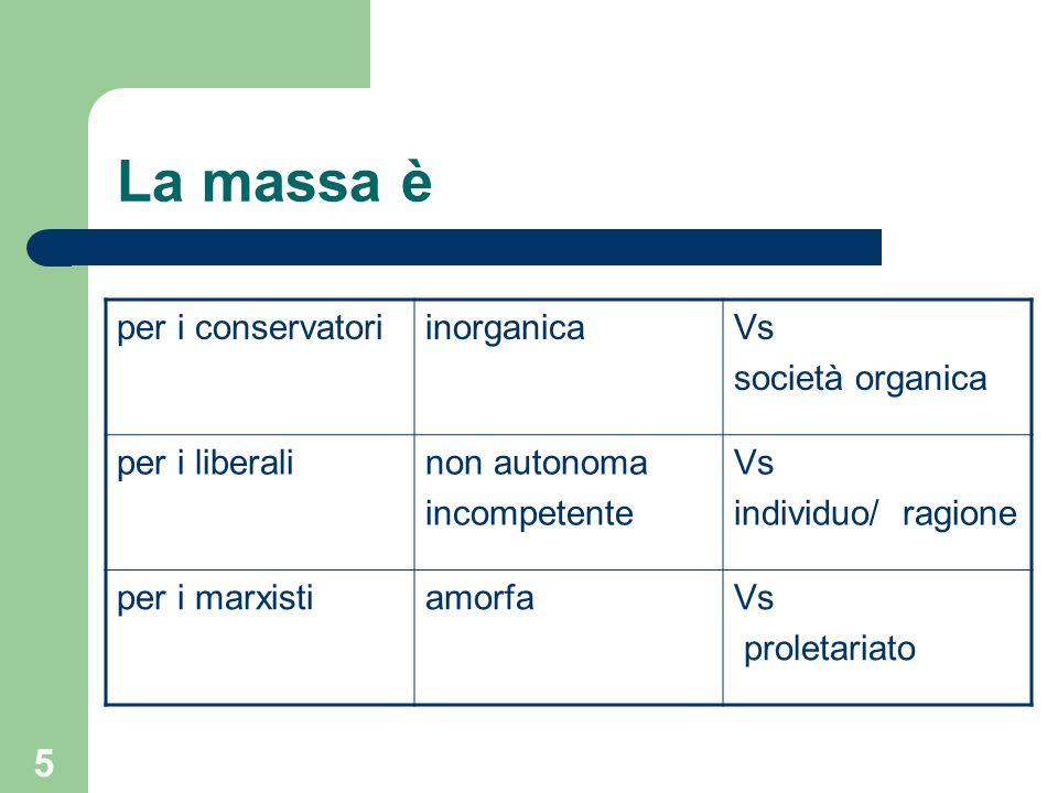 5 La massa è per i conservatoriinorganicaVs società organica per i liberalinon autonoma incompetente Vs individuo/ ragione per i marxistiamorfaVs proletariato
