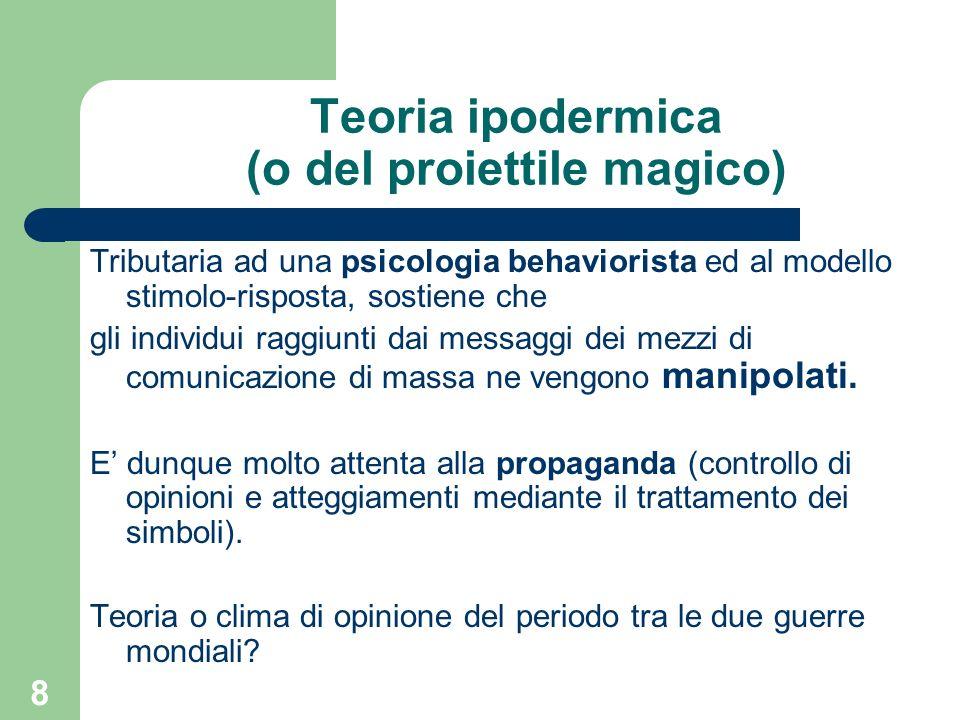 8 Teoria ipodermica (o del proiettile magico) Tributaria ad una psicologia behaviorista ed al modello stimolo-risposta, sostiene che gli individui raggiunti dai messaggi dei mezzi di comunicazione di massa ne vengono manipolati.
