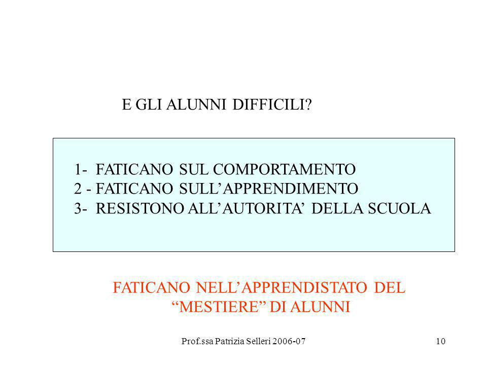 Prof.ssa Patrizia Selleri 2006-0710 E GLI ALUNNI DIFFICILI? 1- FATICANO SUL COMPORTAMENTO 2 - FATICANO SULLAPPRENDIMENTO 3- RESISTONO ALLAUTORITA DELL