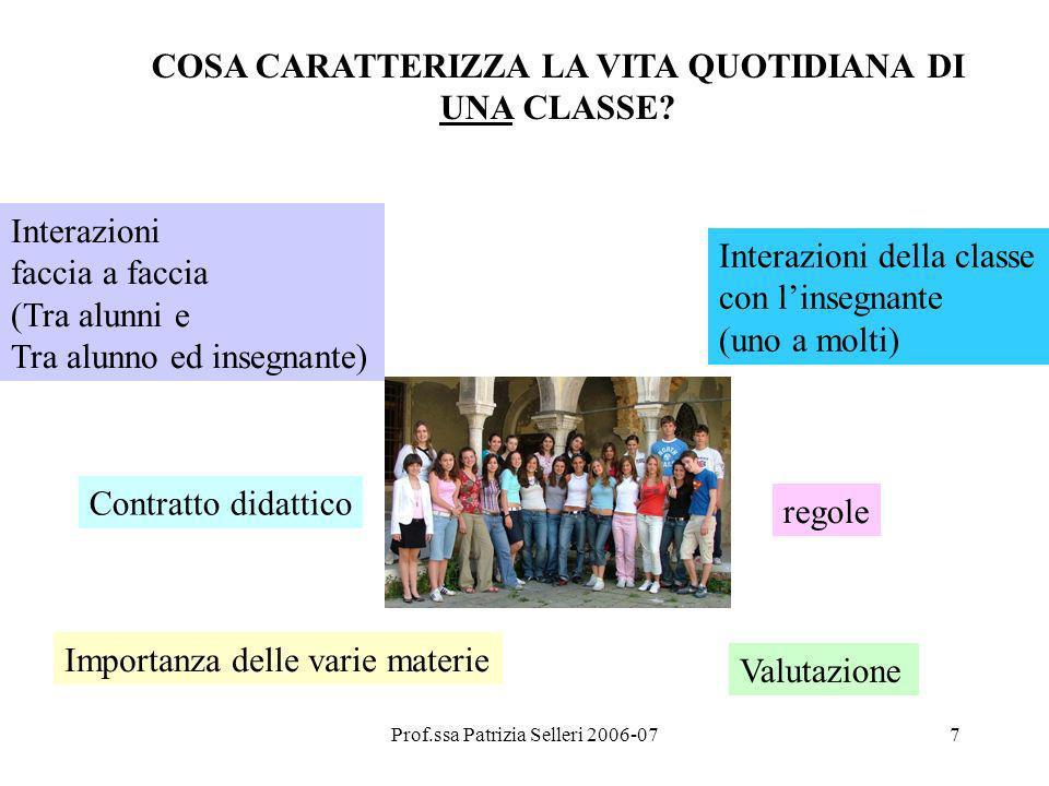 Prof.ssa Patrizia Selleri 2006-077 COSA CARATTERIZZA LA VITA QUOTIDIANA DI UNA CLASSE? Interazioni faccia a faccia (Tra alunni e Tra alunno ed insegna